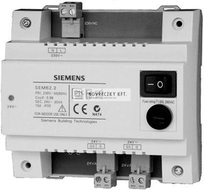 Siemens SEM62.2 transzformátor 24VAC,C-sínre szerelhető,IP20,beépített hálózati kapcsolóval és biztosítékkal