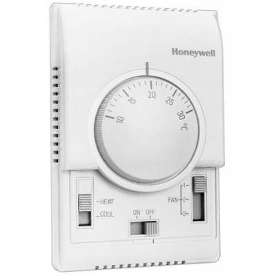 Honeywell T6375B1013 analóg fan-coil termosztát 4 csöves rendszerhez on/off, vent1/2/3, fűt/vent/hűt